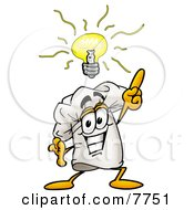 Clipart Picture Of A Chefs Hat Mascot Cartoon Character With A Bright Idea by Toons4Biz
