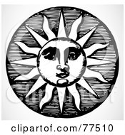 Royalty Free RF Clipart Illustration Of A Black And White Retro Sun Design Element by BestVector
