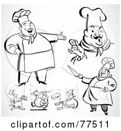 Royalty Free RF Clipart Illustration Of A Digital Collage Of Happy Black And White Retro Chefs by BestVector