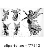 Royalty Free RF Clipart Illustration Of A Digital Collage Of Flying Black And White Angels by BestVector