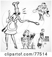 Royalty Free RF Clipart Illustration Of A Digital Collage Of Retro Black And White Cooking House Wives
