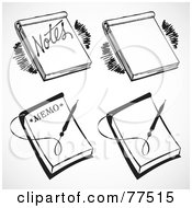Royalty Free RF Clipart Illustration Of A Digital Collage Of Retro Black And White Memo Note Pads by BestVector