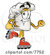 Clipart Picture Of A Chefs Hat Mascot Cartoon Character Roller Blading On Inline Skates