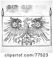Royalty Free RF Clipart Illustration Of A Digital Collage Of Black And White Gothic Eagle Elements by BestVector