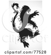 Royalty Free RF Clipart Illustration Of A Silhouetted Standing Black Beast by BestVector