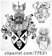 Royalty Free RF Clipart Illustration Of A Digital Collage Of Three Black And White Gothic Shield Crests by BestVector