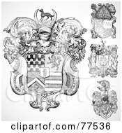 Royalty Free RF Clipart Illustration Of A Digital Collage Of Four Ornate Gothic Coat Of Arms Shields by BestVector