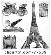 Royalty Free RF Clipart Illustration Of A Digital Collage Of Black And White Travel Icons