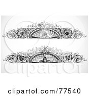 Royalty Free RF Clipart Illustration Of A Digital Collage Of Two Black And White Face Vine Headers by BestVector