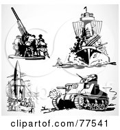 Royalty Free RF Clipart Illustration Of A Digital Collage Of Retro Black And White Military Weapons by BestVector
