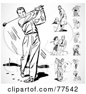 Royalty Free RF Clipart Illustration Of A Digital Collage Of Black And White Retro Men And Women Golfing by BestVector