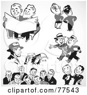 Royalty Free RF Clipart Illustration Of A Digital Collage Of Black And White Retro Mail Man And Business Men by BestVector