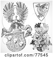 Royalty Free RF Clipart Illustration Of A Digital Collage Of Ornate Heraldic Fantasy Shields by BestVector