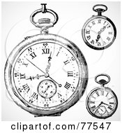 Royalty Free RF Clipart Illustration Of A Digital Collage Of Three Black And White Pocket Watches
