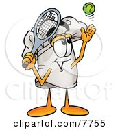 Clipart Picture Of A Chefs Hat Mascot Cartoon Character Preparing To Hit A Tennis Ball by Toons4Biz