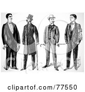 Royalty Free RF Clipart Illustration Of A Digital Collage Of Historical Wealthy Men Standing With Canes