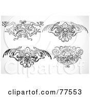 Royalty Free RF Clipart Illustration Of A Digital Collage Of Four Black And White Phoenix Dragon And Snake Fantasy Headers by BestVector