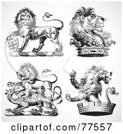 Royalty Free RF Clipart Illustration Of A Digital Collage Of Four Black And White Gothic Heraldic Lions