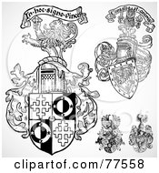 Royalty Free RF Clipart Illustration Of A Digital Collage Of Black And White Floral Shields