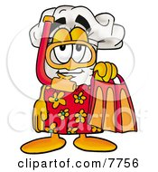 Clipart Picture Of A Chefs Hat Mascot Cartoon Character In Orange And Red Snorkel Gear by Toons4Biz