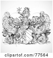 Royalty Free RF Clipart Illustration Of A Black And White Shield With Vines And A Lion Holding A Star by BestVector