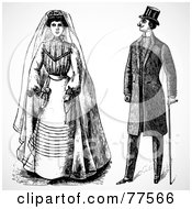 Royalty Free RF Clipart Illustration Of A Digital Collage Of A Black And White Historical Bride And Groom