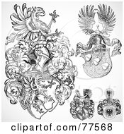 Royalty Free RF Clipart Illustration Of A Digital Collage Of Four Black And White Gothic Crests And Shields by BestVector