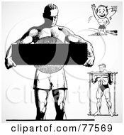 Royalty Free RF Clipart Illustration Of A Digital Collage Of Black And White Retro Bodybuilders by BestVector