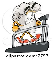 Clipart Picture Of A Chefs Hat Mascot Cartoon Character Walking On A Treadmill In A Fitness Gym by Toons4Biz