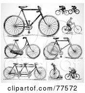 Royalty Free RF Clipart Illustration Of A Digital Collage Of Old Fashioned Bicycles by BestVector