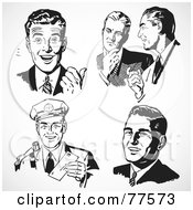 Royalty Free RF Clipart Illustration Of A Digital Collage Of Five Black And White Retro Business Men by BestVector #COLLC77573-0144
