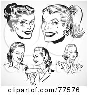 Royalty Free RF Clipart Illustration Of A Digital Collage Of Retro Black And White Female Faces by BestVector
