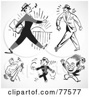 Royalty Free RF Clipart Illustration Of A Digital Collage Of Retro Black And White Happy Businessmen by BestVector
