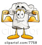 Clipart Picture Of A Chefs Hat Mascot Cartoon Character Flexing His Arm Muscles