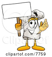 Clipart Picture Of A Chefs Hat Mascot Cartoon Character Holding A Blank Sign by Toons4Biz
