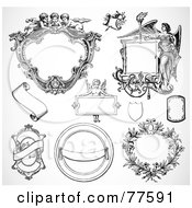 Royalty Free RF Clipart Illustration Of A Digital Collage Of Frame Design Elements Black And White Version 1 by BestVector