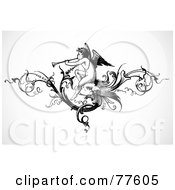 Royalty Free RF Clipart Illustration Of A Black And White Angel Playing A Trumpet Header by BestVector
