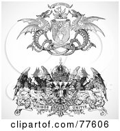 Royalty Free RF Clipart Illustration Of A Digital Collage Of Two Black And White Heraldic Phoenix And Dragon Headers by BestVector