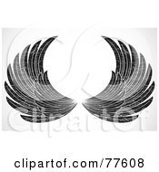 Royalty Free RF Clipart Illustration Of A Pair Of Grungy Black And White Spanned Feathered Wings by BestVector