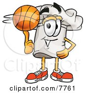 Clipart Picture Of A Chefs Hat Mascot Cartoon Character Spinning A Basketball On His Finger by Toons4Biz