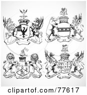Royalty Free RF Clipart Illustration Of A Digital Collage Of Black And Animal Shields by BestVector
