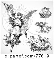Royalty Free RF Clipart Illustration Of A Digital Collage Of Four Angels And Cupids by BestVector