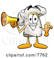 Clipart Picture Of A Chefs Hat Mascot Cartoon Character Holding A Megaphone