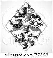 Royalty Free RF Clipart Illustration Of A Digital Collage Of Gothic Lions In A Diamond by BestVector