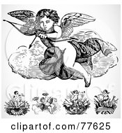 Royalty Free RF Clipart Illustration Of A Digital Collage Of Five Cupid Design Elements by BestVector