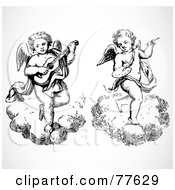 Digital Collage Of Two Black And White Angels On Clouds Musician And Artist