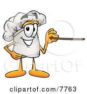 Clipart Picture Of A Chefs Hat Mascot Cartoon Character Holding A Pointer Stick by Toons4Biz