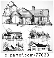 Royalty Free RF Clipart Illustration Of A Digital Collage Of Five Black And White Home Facades by BestVector