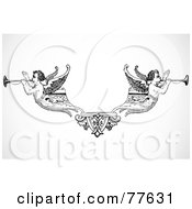 Royalty Free RF Clipart Illustration Of A Black And White Dual Angel Trumpeter Header by BestVector