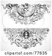 Royalty Free RF Clipart Illustration Of A Digital Collage Of Two Elegant Angel Baroque Headers by BestVector